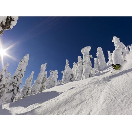 Skiing Untracked Powder at Whitefish Mountain Resort, Montana, Usa Print Wall Art By Chuck