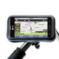 Heavy Duty Weather Resistant Bicycle / Motorcycle Handlebar Mount Holder Designed for the LG Optimus F3