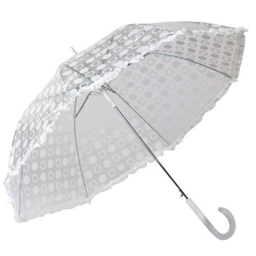 Elite Rain Umbrella Auto-Open Polka Dot Ruffle Umbrella - White
