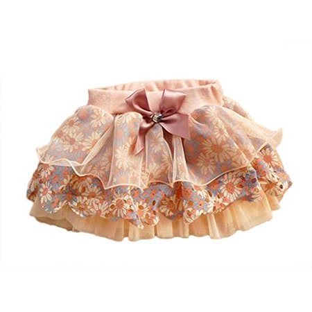 (StylesILove Jeweled Bow Floral Tiered Little Girl Tutu Skirt (4-5 Years / L, Pink))