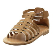 Stepping Stones Little Girls Gladiator Neutral Nude Brown Sandals Girls Strappy Sandals For Casual or Dress Size 57Tan Open Toe Summer Sandals Taupe Infant Toddler Kids Shoes for Children