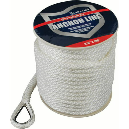 Attwood 11724-1 Solid Braid Multifilament Polypropylene Anchor Line with Thimble 3/8-Inch x 100-Feet, White 1 Line Anchor Arch