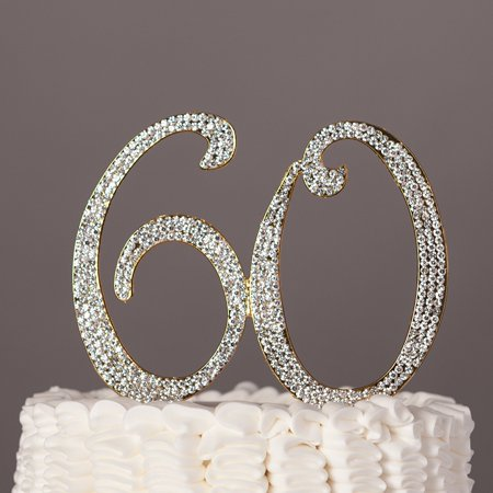 60 Cake Topper for 60th Birthday or Anniversary Gold Party Supplies & Decoration Ideas (Gold) (Birthday Cake Supplies)