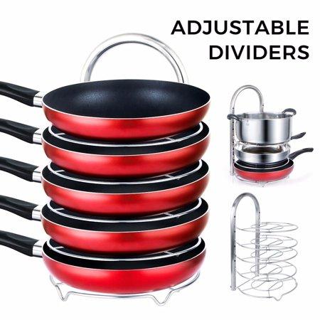 Lifewit Pan Pot Organizer Rack, Height Adjustable Cookware Holder