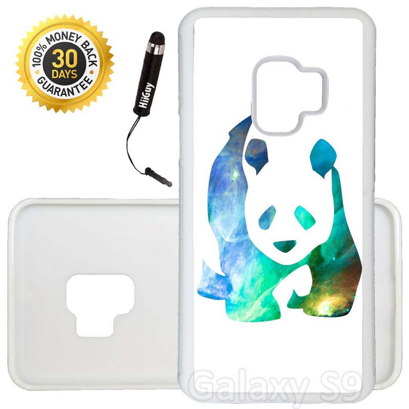 Custom Galaxy S9 Case (Nebula Panda Design) Edge-to-Edge Rubber White Cover Ultra Slim | Lightweight | Includes Stylus Pen by Innosub