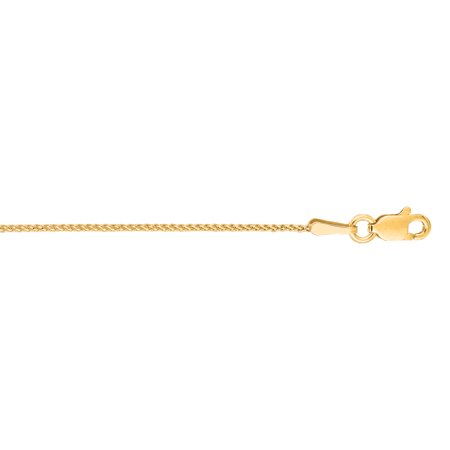 """Luxurman 14K Yellow Solid Gold 1mm wide Shiny Round Diamond Cut Wheat Chain 16"""" Necklace Lobster Clasp"""