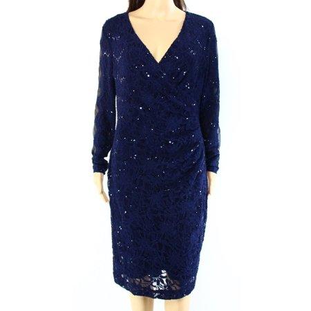 f13b3ad6 Lauren Ralph Lauren - Lauren Ralph Lauren NEW Navy Blue Womens 10 Sequin  Lace Sheath Dress - Walmart.com