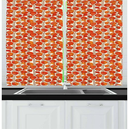Floral Curtains 2 Panels Set, Art Nouveau Style Poppy Flowers Retro Spring Summer Garden Foliage Petals, Window Drapes for Living Room Bedroom, 55W X 39L Inches, Vermilion Brown Cream, by Ambesonne ()