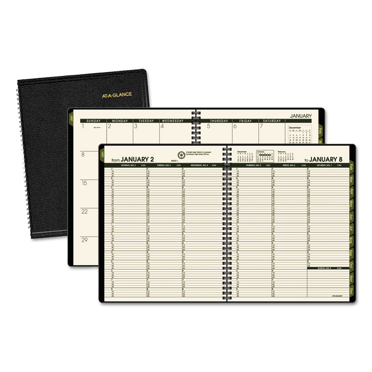 RECYCLED WEEKLY/MONTHLY CLASSIC APPOINTMENT BOOK, 6 7/8 X 8, BLACK, 2019