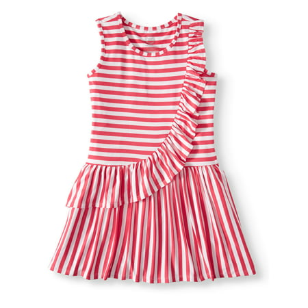 Wonder Nation Asymmetric Ruffle Dress (Little Girls, Big Girls & Big Girls Plus) - Little Girl Smocked Dresses