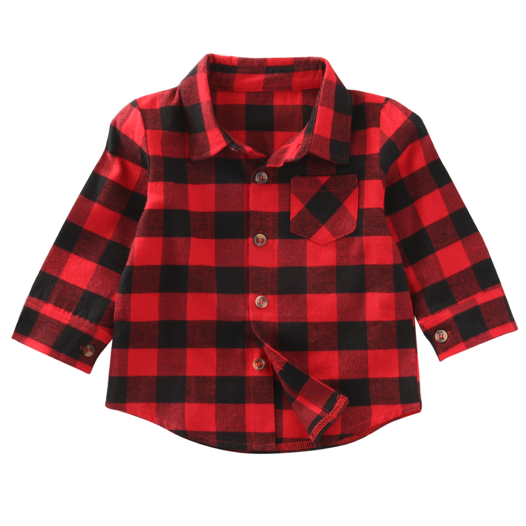 Baby Toddler Girls Boys Red Plaid Shirts Long Sleeve Blouse Top