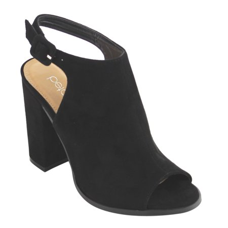 FC68 Women's Ankle Strap Cut Out Back Block Heel Ankle Booties