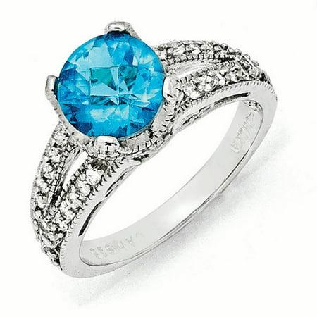 Cheryl M Sterling Silver Checker-cut Glass Simulated Blue Topaz & CZ Ring Size 7