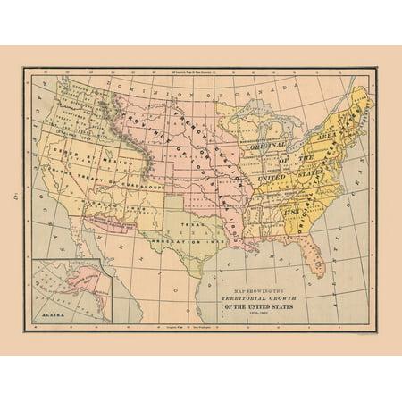 International Map - Growth of United States - Cram\'s Atlas 1888 ...