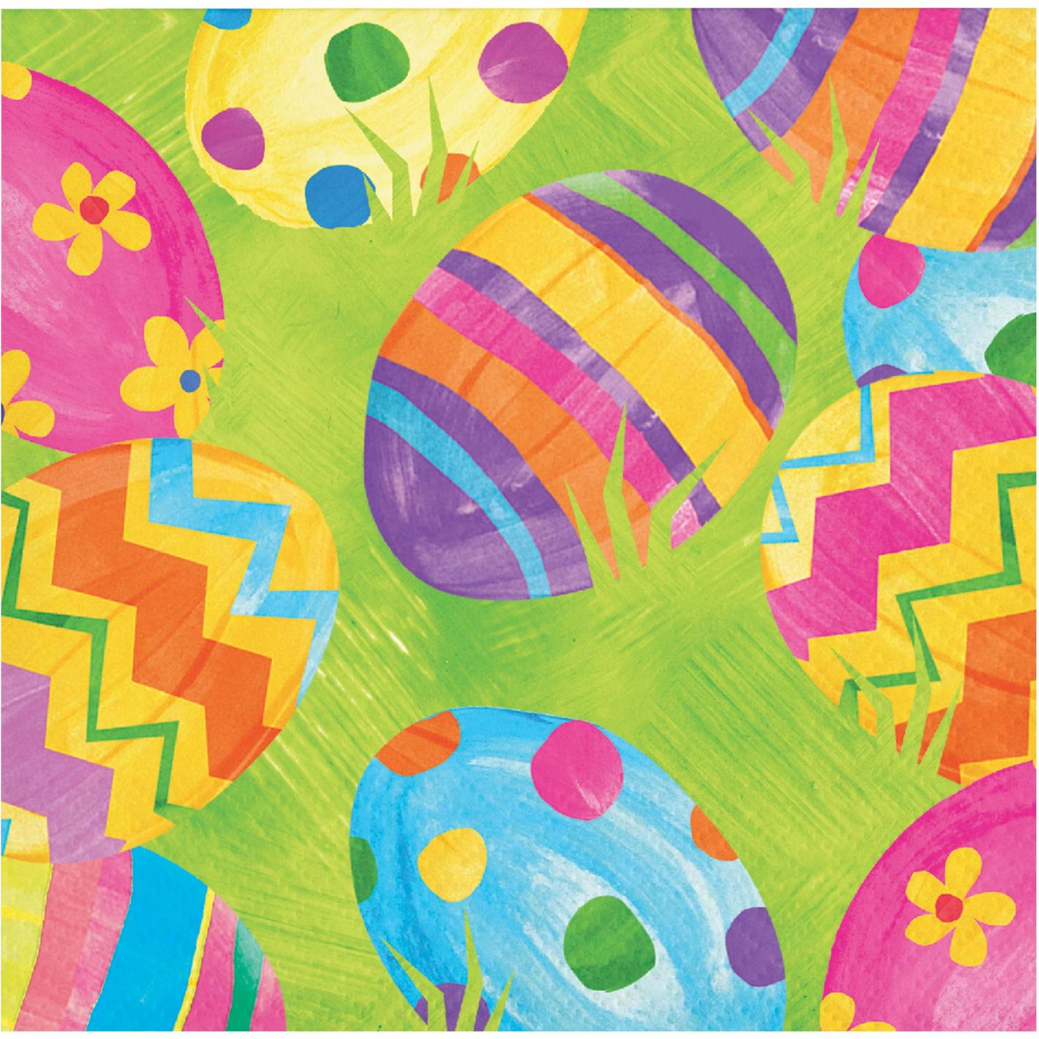 """Pack of 192 Green and Pink Easter Egg Toss Decorative Beverage Napkin 5.5"""""""
