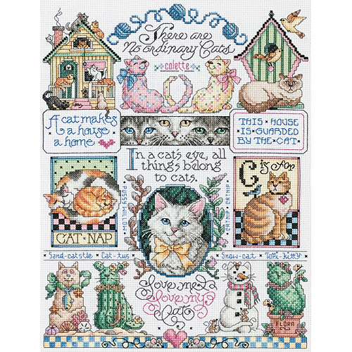 "Janlynn Cats, Cats, Cats Counted Cross Stitch Kit, 11"" x 14"", 14 Count"