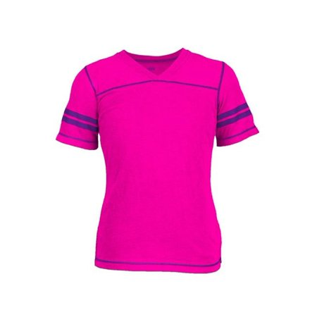 Glow Football (2392G6ZLMED Combed Cotton Football Tee Shirt for Girl, Pink Glow & Purple -)