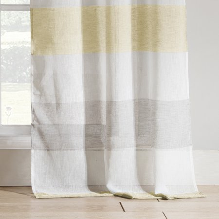 Shower Cabana - Bathroom and More Collection SHEER Fabric Shower Curtain White, Yellow and Gray Cabana Stripe Design (Shower Curtain 72