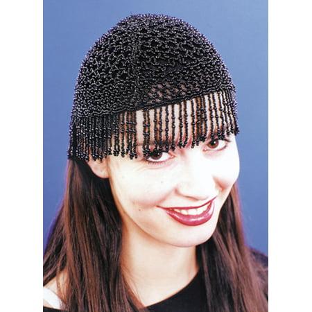 20S BEADED CAP BLK](20s Era)
