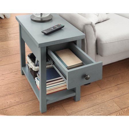 Better Homes and Gardens Oxford Square End Table with Drawer, Blue