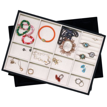 Stackable Tray Organizes jewelry BRACELETS RINGS NECKLACES EARRINGS Showcase Display Organizer