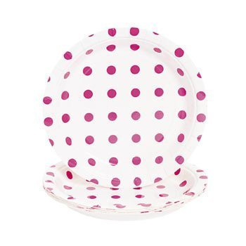 Hot Pink Polka Dot Dessert Plates - Easter & Party Supplies
