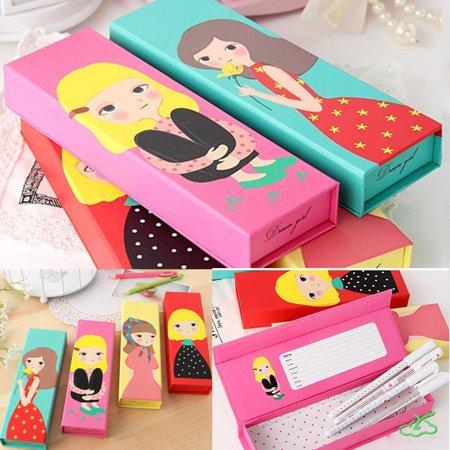 1Pcs Girl Paper Pencil Box Pen Case Cartoon School Stationery Makeup Brush Bag](Pencil Cartoon)