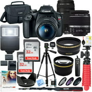 Canon T7 EOS Rebel DSLR Camera with EF-S 18-55mm f/3.5-5.6 IS II and EF 75-300mm f/4-5.6 III Lens and Two (2) 32GB SDHC Memory Cards Plus Double Battery Accessory Bundle