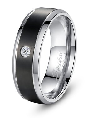 Devuggo 8MM Black Titanium Cubic Zirconia Ring Band Gifts for Men Sizes 9 to 13