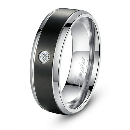 Devuggo 8MM Black Titanium Cubic Zirconia Ring Band Gifts for Men Sizes 9 to 13