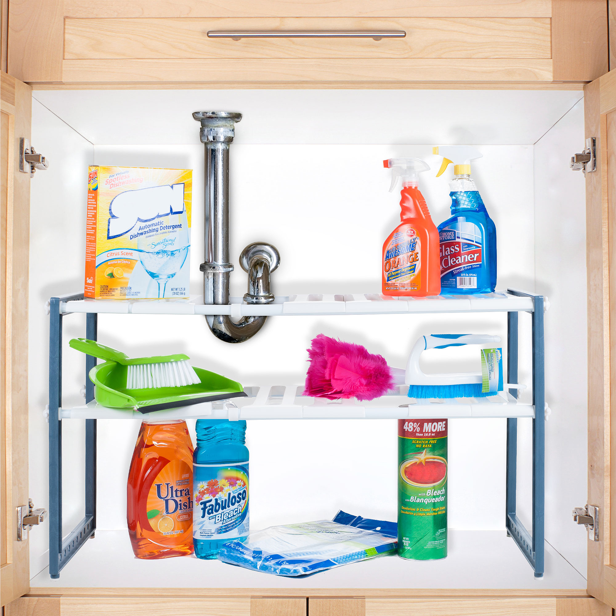 2 Tier Expandable Adjustable Under Sink Shelf Organizer Unit