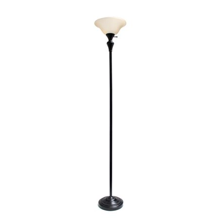 1 Light Torchiere Floor Lamp w/ Frosted Plastic Shade, Restoration Bronze