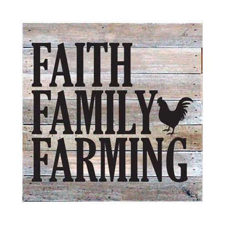 Artistic Reflections 'Faith Family Farming' Textual Art on Wood in Gray