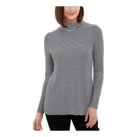 Jones New York Womens Soft Ribbed Knit Long Sleeve Turtleneck (Navy Combo, XX-Large)