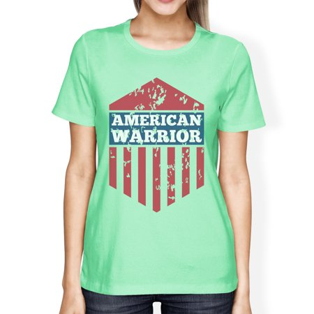 American Warrior Tee Womens Mint Short Sleeve T-Shirt Gift For Her