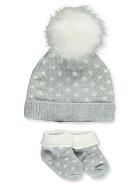 Catherine Malandrino Baby Girls' Polka Dotted Knit Hat & Sock Booties Set