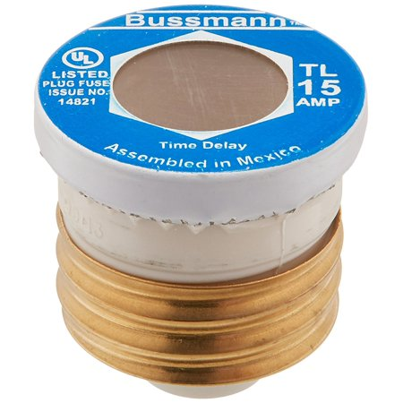TL-15 15 Amp Time Delay, Loaded Link Edison Base Plug Fuse, 125V UL Listed, Time-Delay Plug Fuse By Bussmann