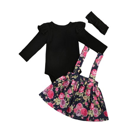 StylesILove Adorable Infant Baby Girl Long Sleeve Romper and Floral Braces Skirt with Headband 3 pcs Outfit (100/18-24 Months)