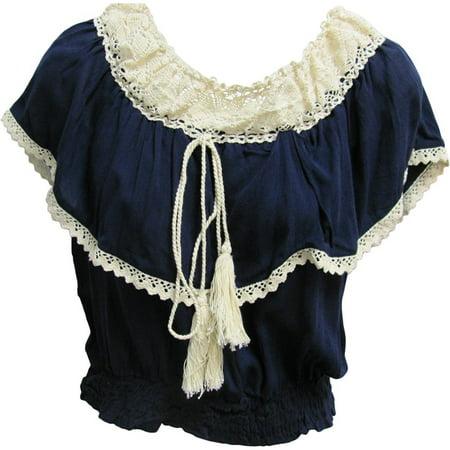 Vintage Bohemian Ruffled Smocked Off Shoulder Peasant Top Blouse (Small, Navy Blue)