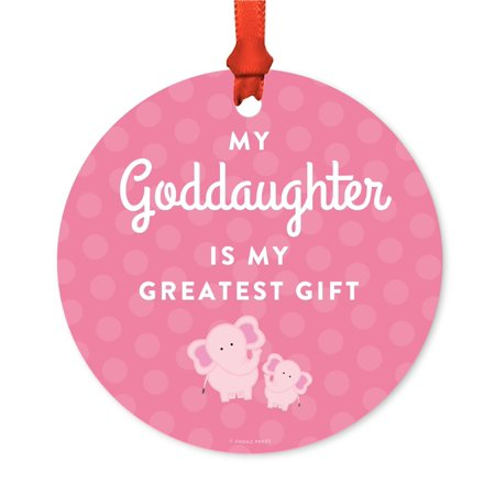 Metal Christmas Ornament, My Goddaughter is My Greatest Gift, Elephants, Includes Ribbon and Gift