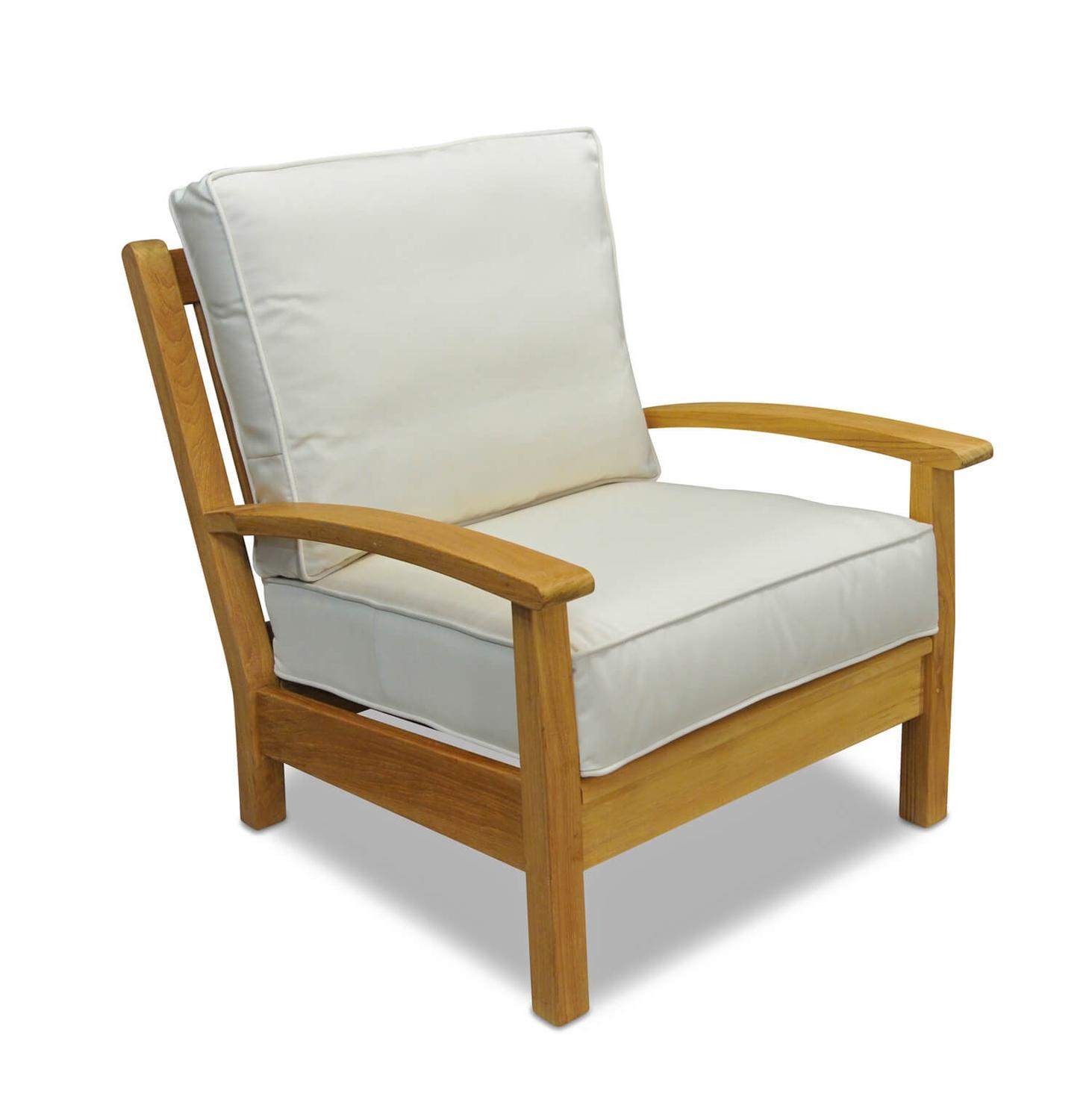 "34"" Natural Teak Deep Seating Outdoor Patio Lounge Chair with Canvas Cushions"