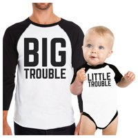 Big Trouble Little Trouble Dad and Son Matching Baseball Tee Cotton