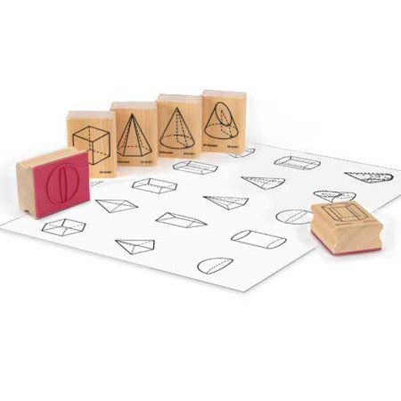 EAI Education Wooden 3D GeoModel Shape Stamps: Set of 15