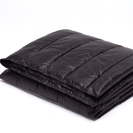 "50"" x 70"" PUFF Ultra Light Indoor/Outdoor Nylon Throw with Compact Travel Bag, Black"