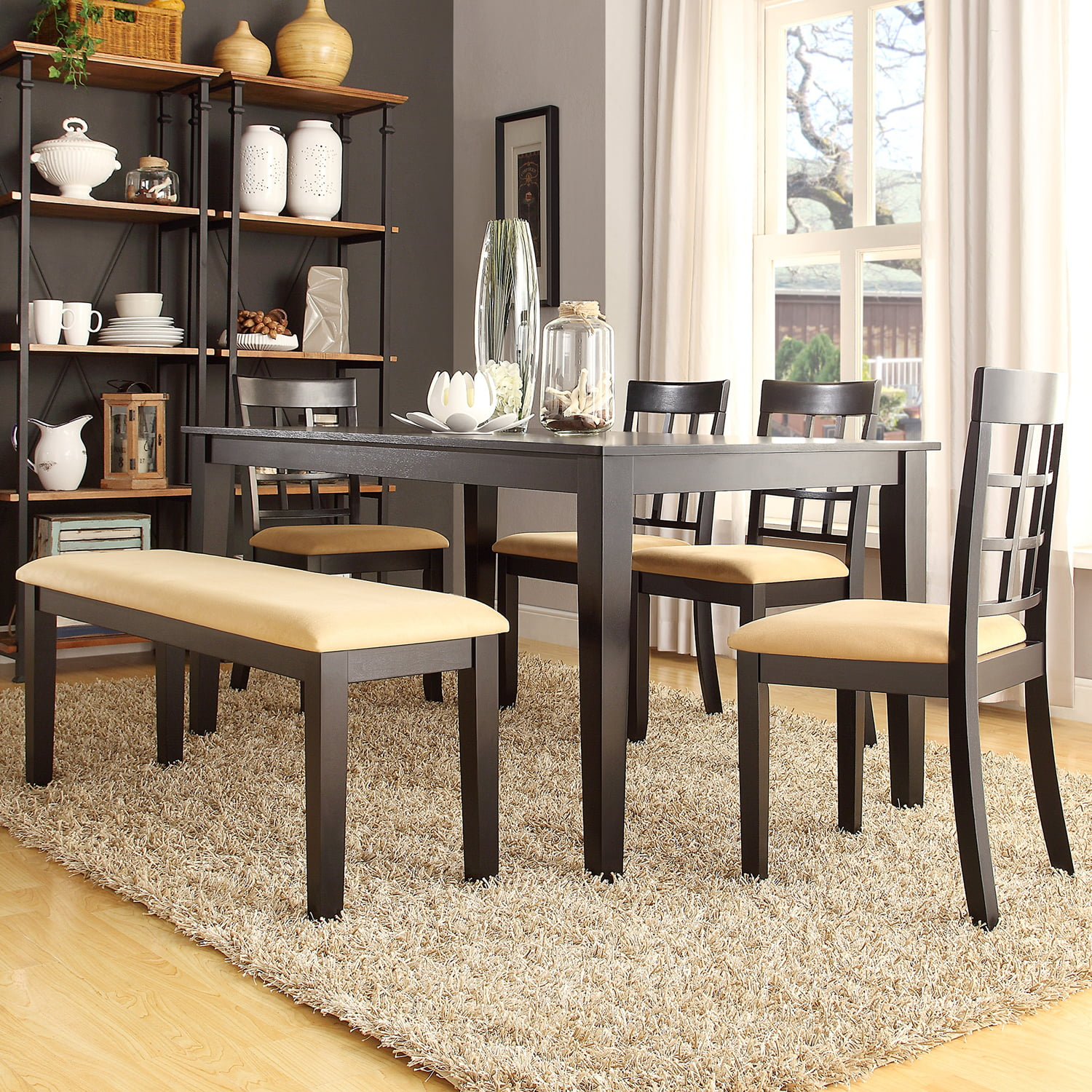 Round Kitchen Table And Chairs Walmart Kitchen Table Sc 1: Lexington 6-Piece Large Dining Set With 4 Window Back