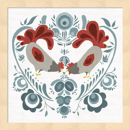 Americana Roosters IV by Wild Apple Portfolio, Framed Wall Art, 13.25W x 13.25H