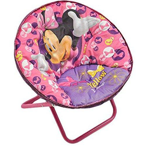 Minnie Mouse Disney Saucer Chair Pink Toddler Kids Seat Portable Character Comfortable Seating Saucer Shape Sturdy Metal Frame Polyester Cushioned Seat Playroom Easy Storage Bedroom