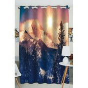 Phfzk Usa Nature Window Curtain, Rocky Mountains In Coloradao Bright Sun Snowy Hill Winter View Window Curtain Blackout Curtain For Bedroom Living Room Kitchen Room 52X84 Inches One Piece