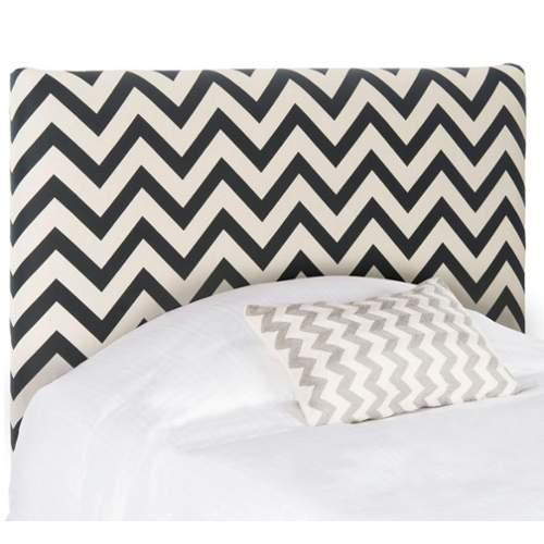 Safavieh Ziggy Black and White Zigzag Headboard Cotton Blend Headboard in Black
