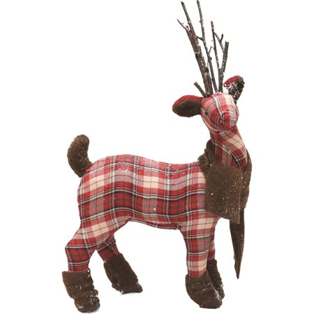 """19.5"""" Red Plaid Reindeer with Brown Scarf and Boots Table Top Christmas Figure - image 1 of 1"""